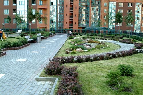 Фото ландшафтный дизайн придомовой территории
